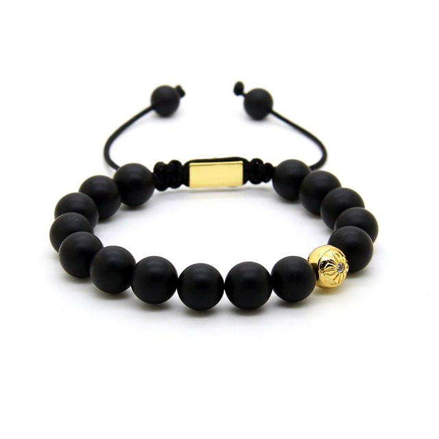10mm matte onyx with gold bead bracelet