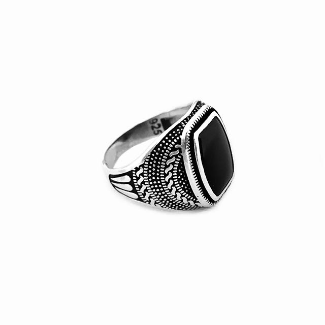 925 Sterling Silver Warrior Ring with Onyx Stone Front Side View