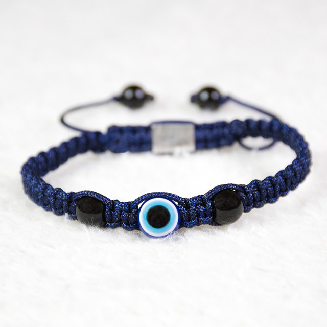 Handmade 8mm Evil Eye Bracelet with Two Onyx Stones