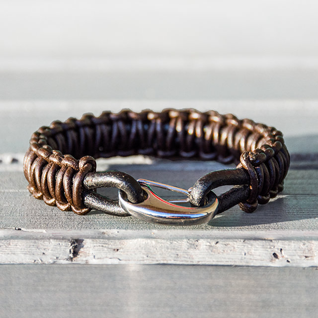 Handmade Brown Leather Braided Bracelet Back View Image