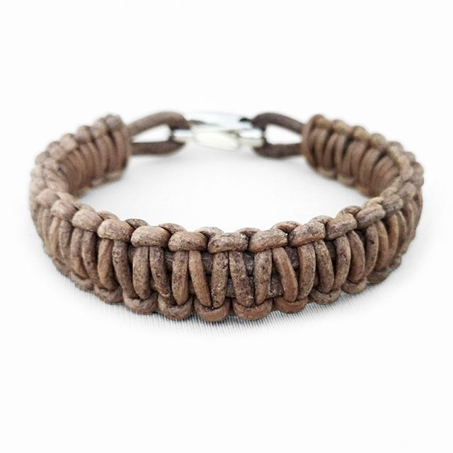 Light Brown Braided Leather Bracelet