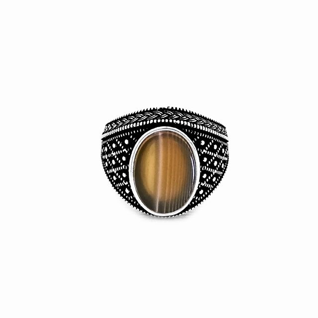 925 Sterling Silver Emperor Ring with Agate Stone Front View