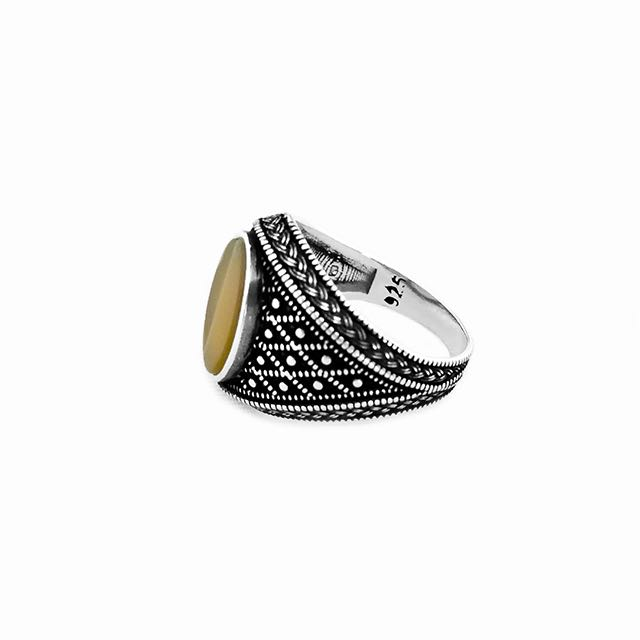 925 Sterling Silver Emperor Ring with Agate Stone Side View