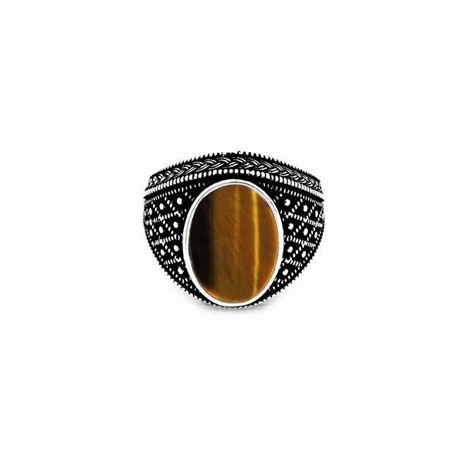 925 Sterling Silver Emperor Ring with Tiger Eye Stone Front View