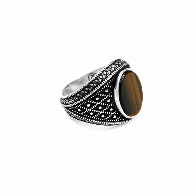 925 Sterling Silver Emperor Ring with Tiger Eye Stone Right Side View