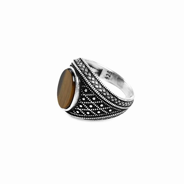 925 Sterling Silver Emperor Ring with Tiger Eye Stone Left Side View