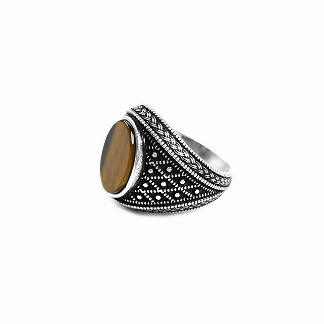 925 Sterling Silver Emperor Ring with Tiger Eye Stone Side View