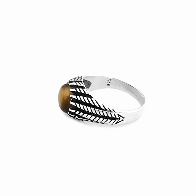 925 Sterling Silver Gladius Ring with Tiger Eye Stone Side View