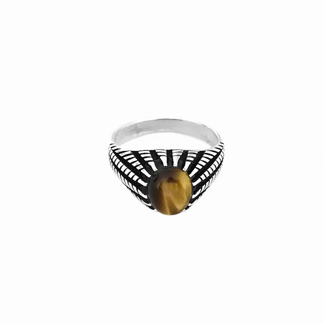 S925 Gladius Ring with Tiger Eye Stone Front View