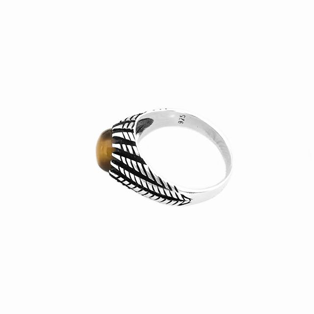 925 Sterling Silver Gladius Ring with Tiger Eye Stone Up View
