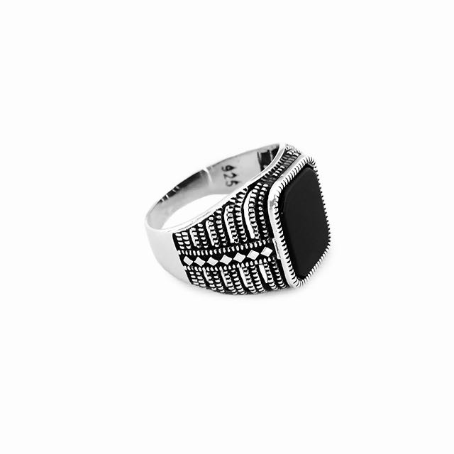 925 Sterling Silver Governor Ring with Onyx Stone Front Side View