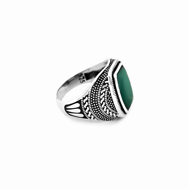 925 Sterling Silver Warrior Ring with Green Agate Stone Side View