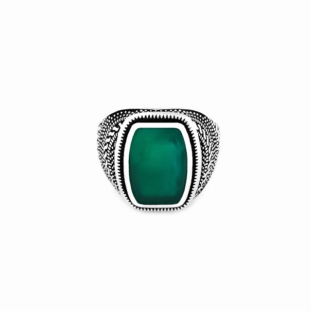 S925 Warrior Ring with Green Agate Stone Front View