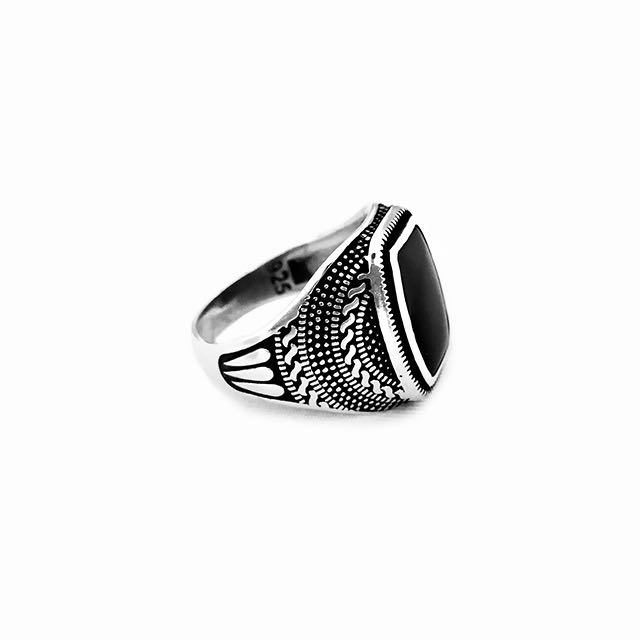 925 Sterling Silver Warrior Ring with Onyx Stone Side View
