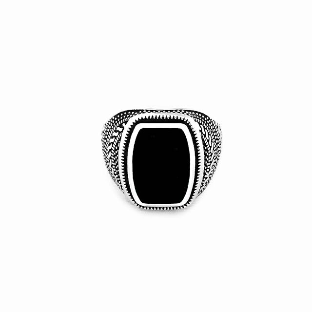 S925 Warrior Ring with Onyx Stone Front View