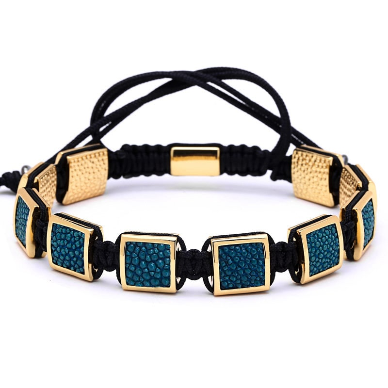 Gold Bracelet with Blue Stingray Leather