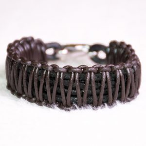 Wide Braided Brown Leather Bracelet Image