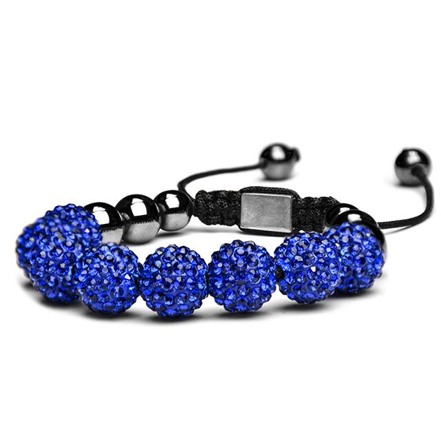 Royal Blue Crystal Shamballa Bracelet Side
