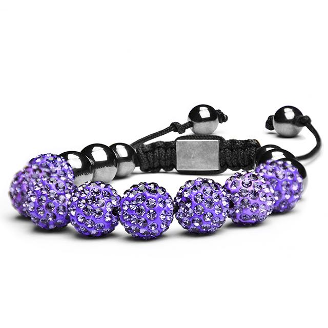 Royal Purple Crystal Shamballa Bracelet Side View