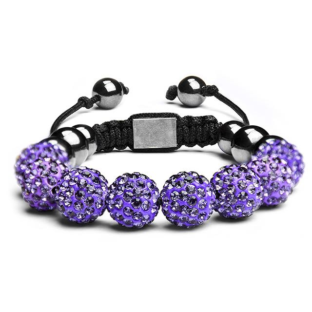 Royal Purple Crystal Shamballa Bracelet