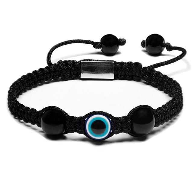 Black Evil Eye Onyx Shamballa Bracelet