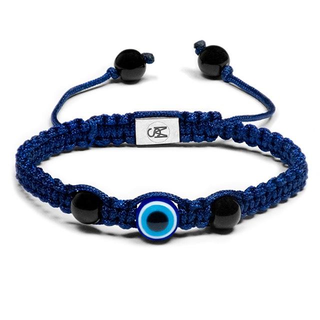 Blue Evil Eye Onyx Shamballa Bracelet