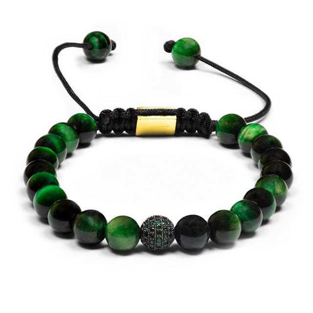 Green Tiger Eye Shamballa Bracelet