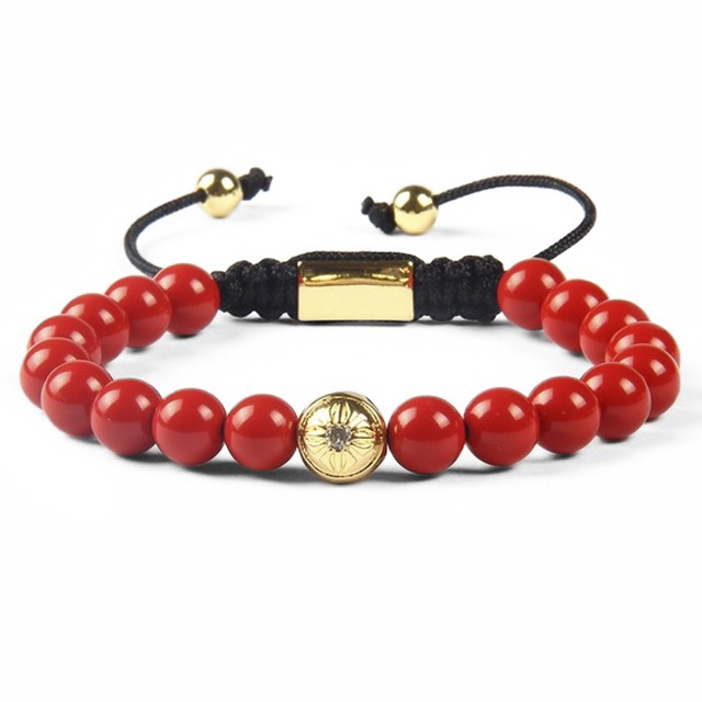 Red Coral Shamballa Bracelet