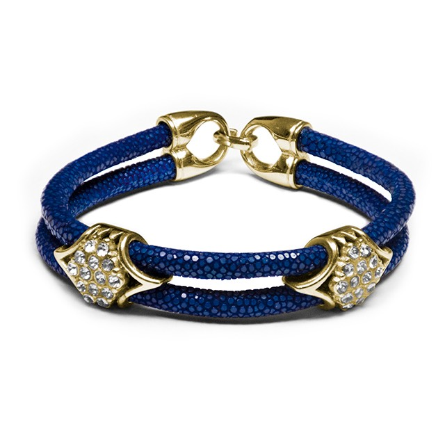 Dark Blue Stingray Imperio Gold Bracelet