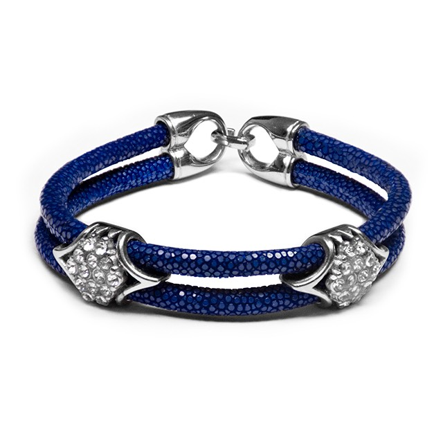 Dark Blue Stingray Imperio Silver Bracelet