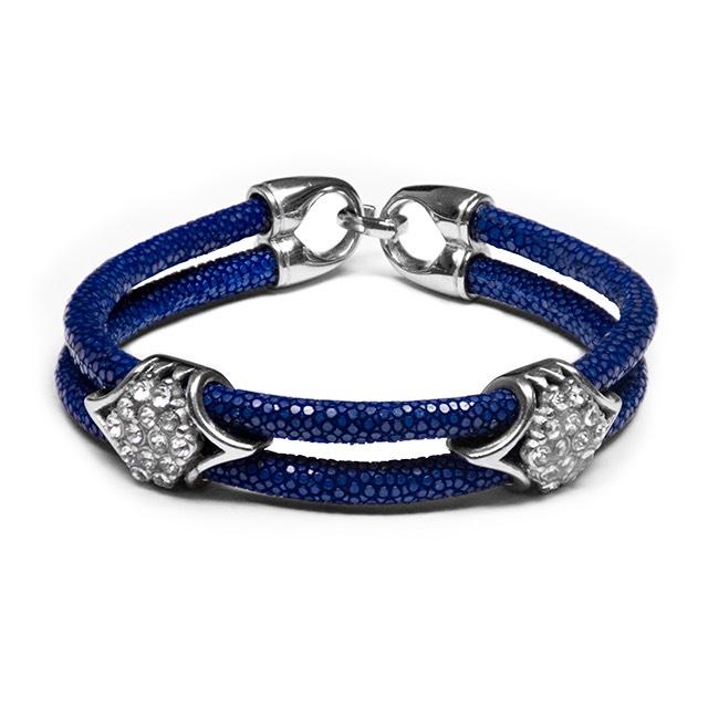 Dark Blue Stingray Imperio Silver Bracelet