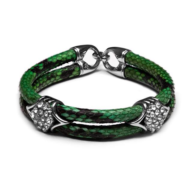 Green Python Imperio Silver Bracelet